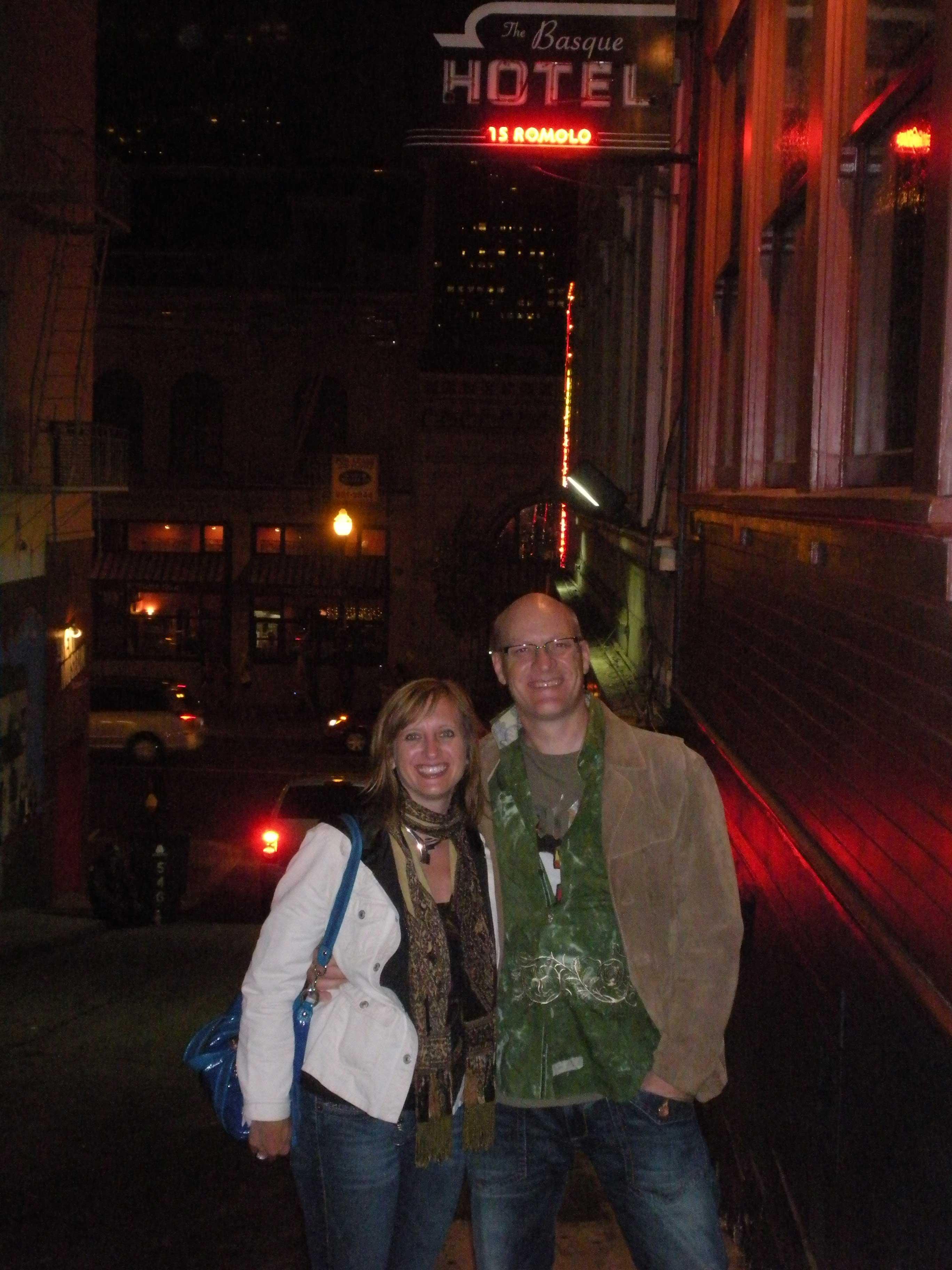 Chris & Laura at the Basque Hotel at 15 Romolo